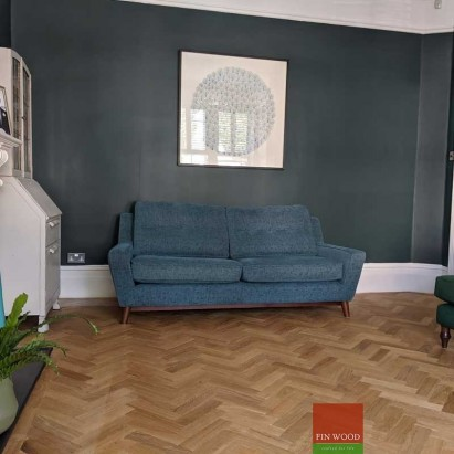 Parquet Herringbone wood flooring with border by Fin Wood Ltd London #CraftedForLife #CraftedForLife
