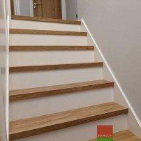 Stair Cladding - Modern look with painted risers by Fin Wood Ltd. London #CraftedForLife #CraftedForLife