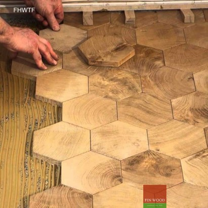Fitting Hexagon Wood Tiles floors - hexagon parquet floor #CraftedForLife