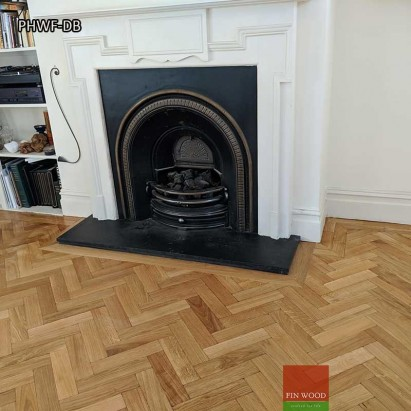 Parquet Herringbone wood flooring with double border by Fin Wood Ltd