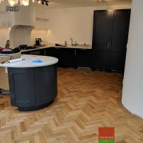 Parquet herringbone with curved borders by Fin Wood Ltd - London