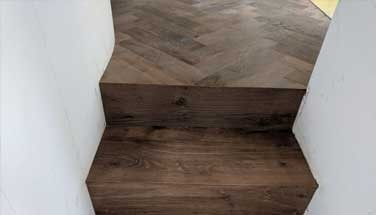 Wood floor transition to stairs - by Fin Wood Ltd
