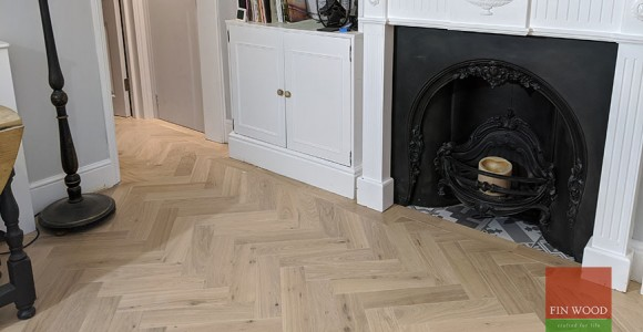 Elegant herringbone parquet and  much needed stability to a bouncing floor in Richmond TW9