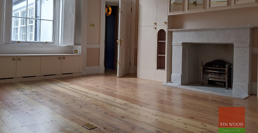 Reclaimed Victorian pine boards restored  for a smart, natural, sustainable finish, W1G