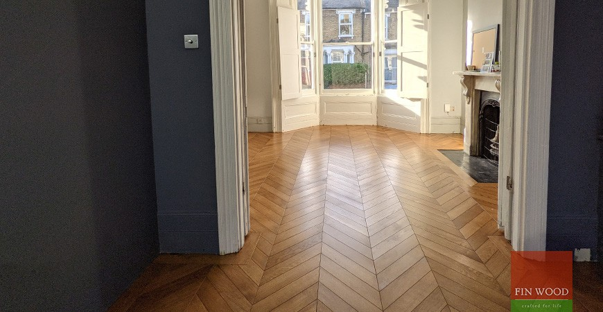 Victorian terrace uplifted with wide engineered oak boards and a statement chevron parquet, Brockley SE14