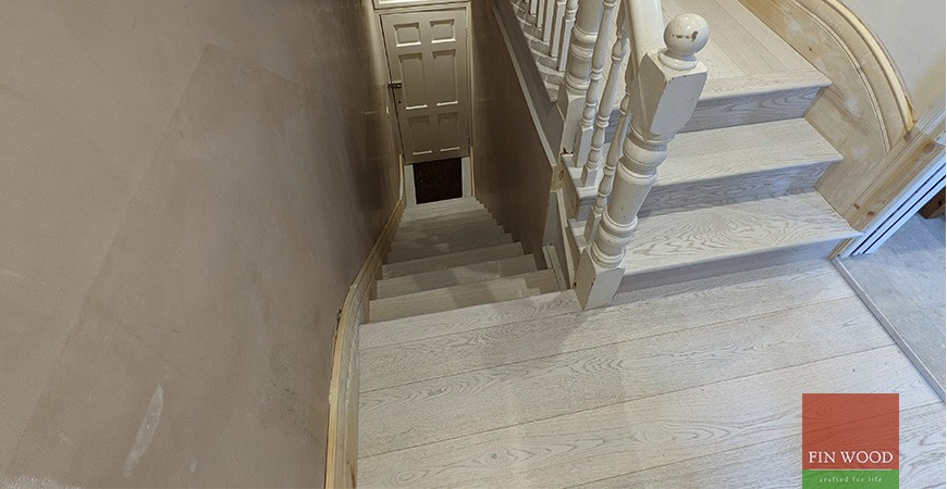White washed engineered oak and period woodwork provides a fresh new look for Victorian flat, Tooting Common SW17