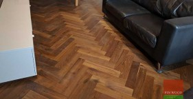 Oak Engineered Herringbone Parquet Installation with border in NW6 Hampstead, London