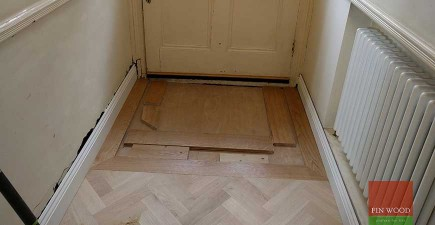 Oak Herringbone Parquet Custom Finished in SW17 Tooting