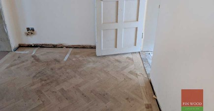 Old parquet restored and new Oak floor fitted in Arts & Crafts Home #CraftedForLife