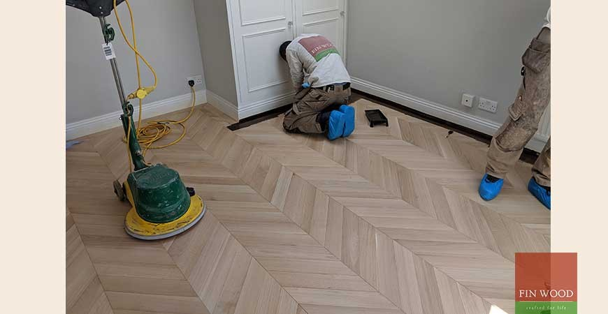Beautiful Dark Oak Chevron Parquet Wooden Floor Fitted With A Single Row Border #CraftedForLife
