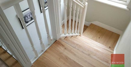 Beautiful aged oak parquet with wooden flooring on stairs #CraftedForLife