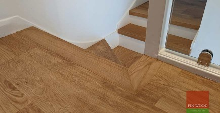 Engineered oak stair cladding with modern white painted risers uplifts a semi-detached family home, Epping Forest #CraftedForLife
