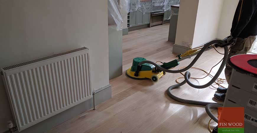 Oak Engineered Boards Installation, custom finished with white oil SW19 Southfields, London #CraftedForLife