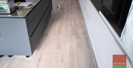 Solid Oak Floor Restoration with custom finish and modern stair cladding in SW11 Battersea