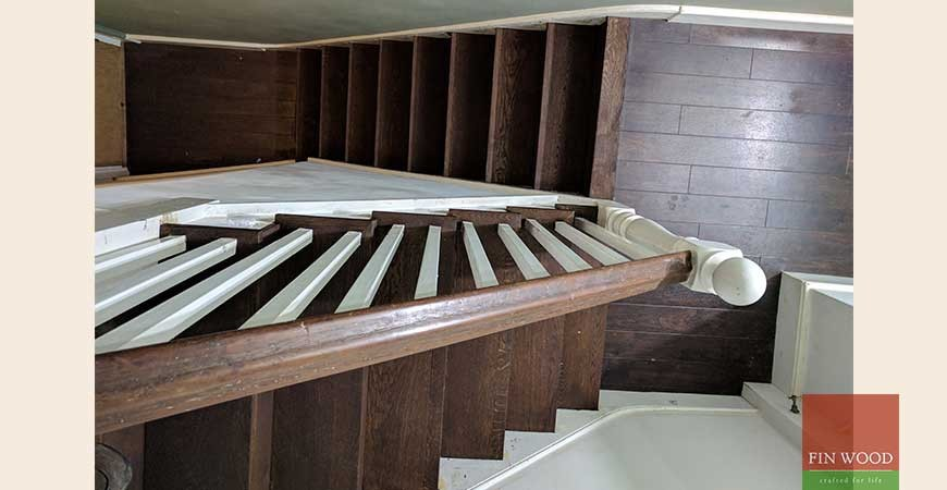 Classic Stairs Cladding with Oak boards and custom finishing in SE8 Deptford