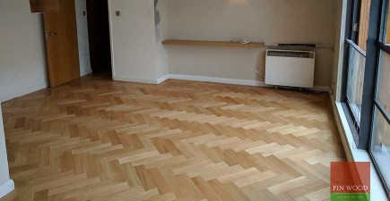 Herringbone Parquet Natural Oak with a single border in SE1 Bermondsey
